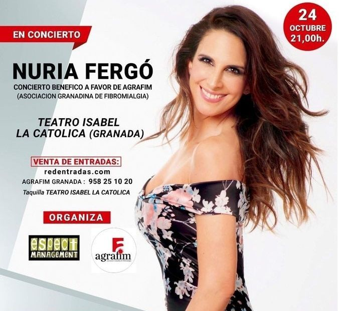 Manuela Fundación colabora en el concierto benéfico de Nuria Fergó a favor de la Asociación Granadina de Fibromialgia.
